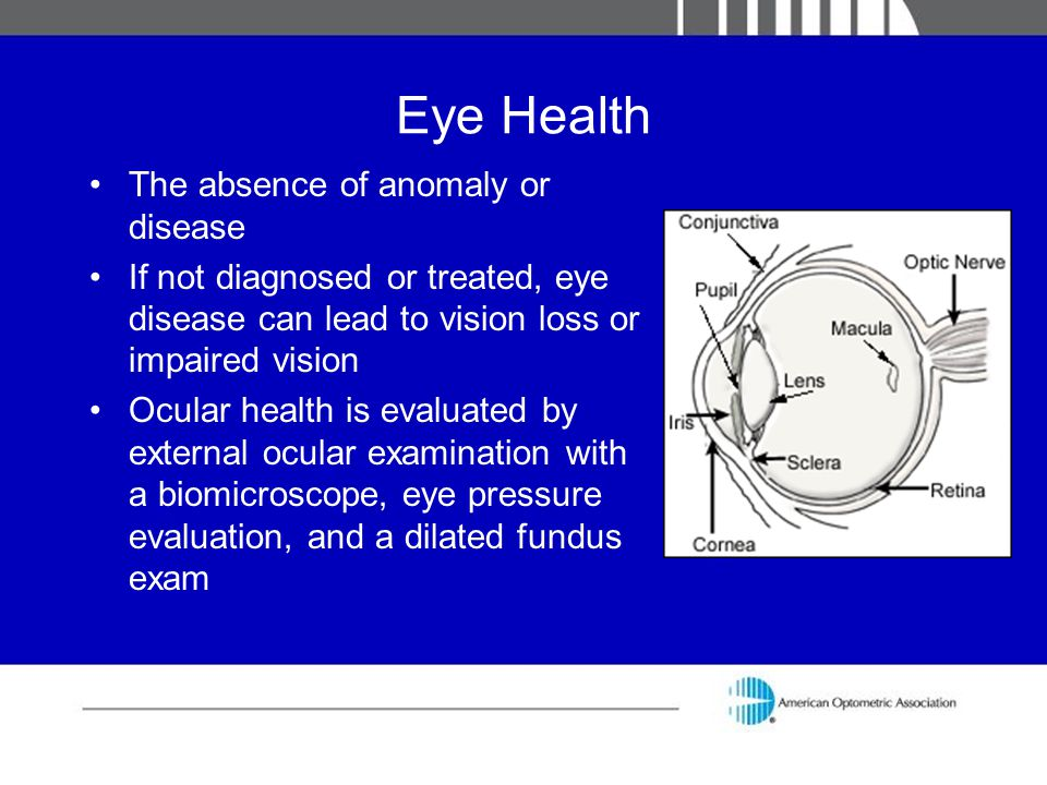 Eye Health The absence of anomaly or disease If not diagnosed or treated, eye disease can lead to vision loss or impaired vision Ocular health is eval