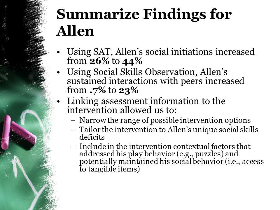 Allen's Social Skills Observation Intervention Data