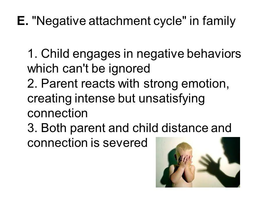 E. Negative attachment cycle in family 1.