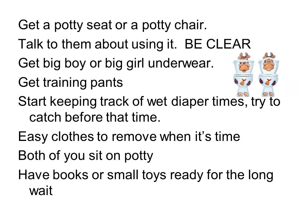 Get a potty seat or a potty chair. Talk to them about using it. BE CLEAR Get big boy or big girl underwear. Get training pants Start keeping track of