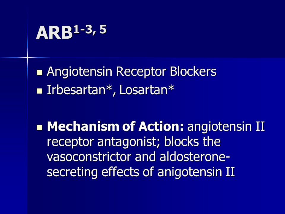 ARB 1-3, 5 Angiotensin Receptor Blockers Angiotensin Receptor Blockers Irbesartan*, Losartan* Irbesartan*, Losartan* Mechanism of Action: angiotensin II receptor antagonist; blocks the vasoconstrictor and aldosterone- secreting effects of anigotensin II Mechanism of Action: angiotensin II receptor antagonist; blocks the vasoconstrictor and aldosterone- secreting effects of anigotensin II