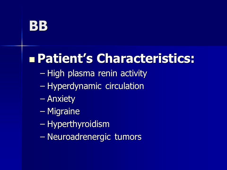 BB Patient's Characteristics: Patient's Characteristics: –High plasma renin activity –Hyperdynamic circulation –Anxiety –Migraine –Hyperthyroidism –Neuroadrenergic tumors