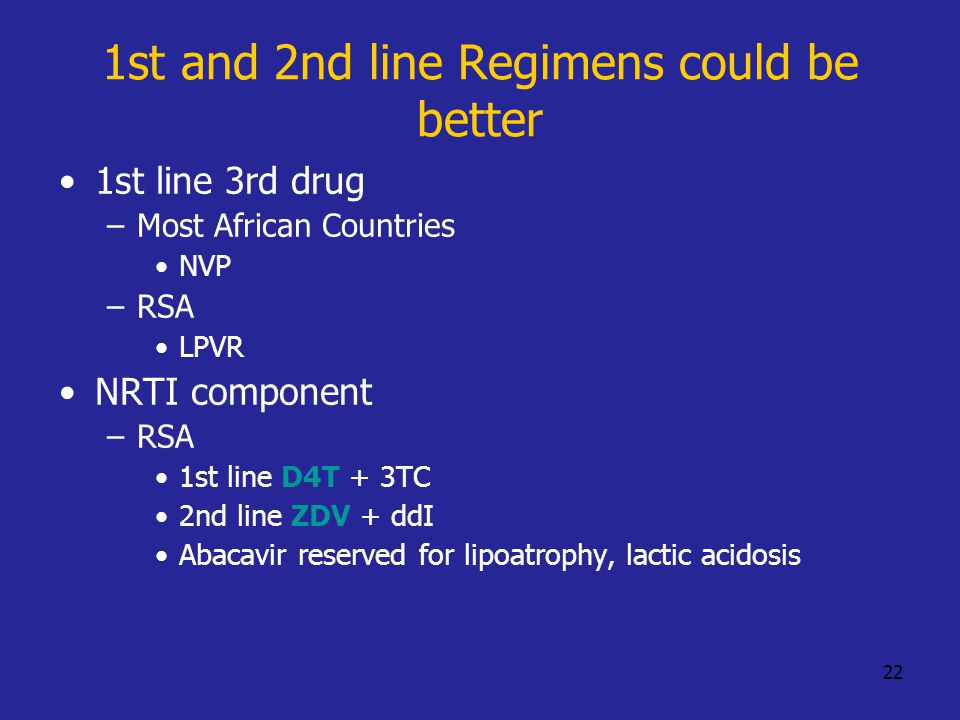 22 1st and 2nd line Regimens could be better 1st line 3rd drug –Most African Countries NVP –RSA LPVR NRTI component –RSA 1st line D4T + 3TC 2nd line ZDV + ddI Abacavir reserved for lipoatrophy, lactic acidosis