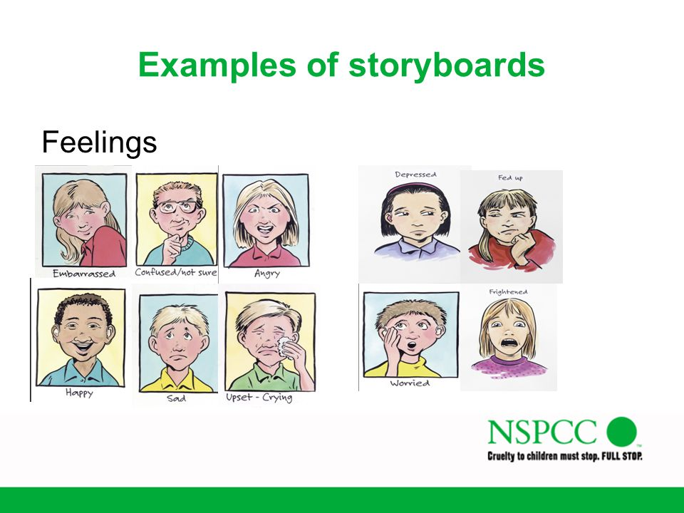 Examples of storyboards Feelings