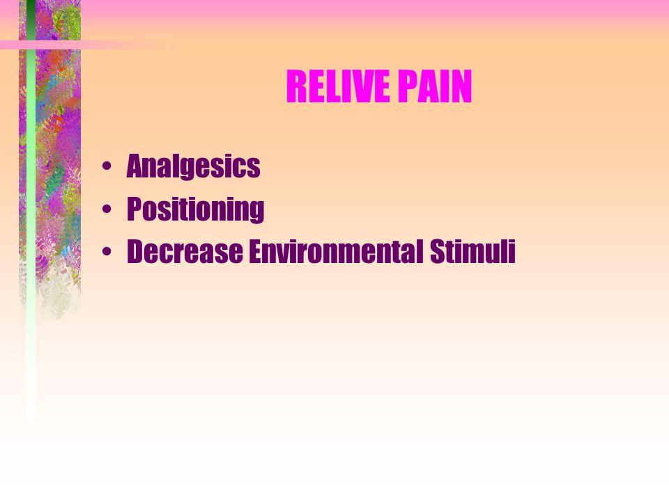 RELIVE PAIN Analgesics Positioning Decrease Environmental Stimuli