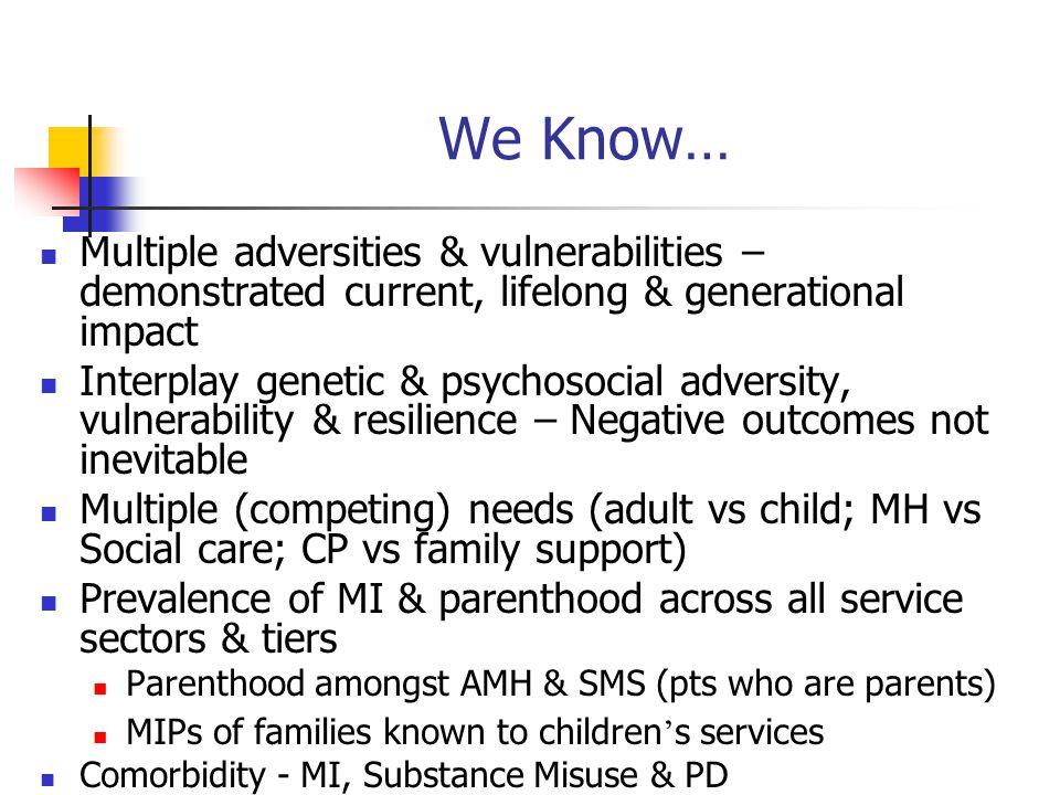 We Know… Multiple adversities & vulnerabilities – demonstrated current, lifelong & generational impact Interplay genetic & psychosocial adversity, vul