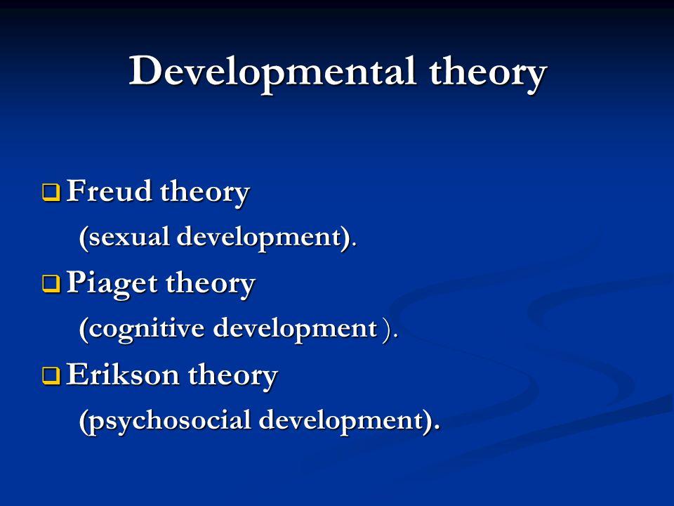 Developmental theory  Freud theory (sexual development). (sexual development).  Piaget theory (cognitive development ). (cognitive development ). 