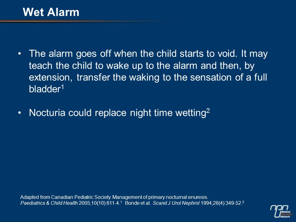 The alarm goes off when the child starts to void.
