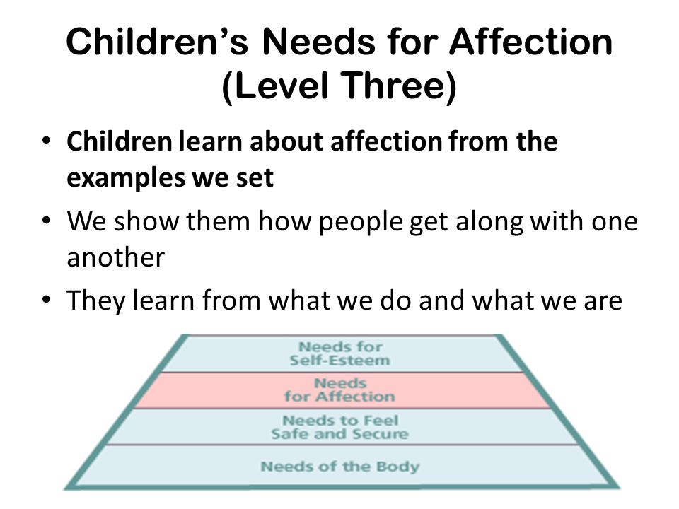 Children's Needs for Affection (Level Three) Children learn about affection from the examples we set We show them how people get along with one anothe