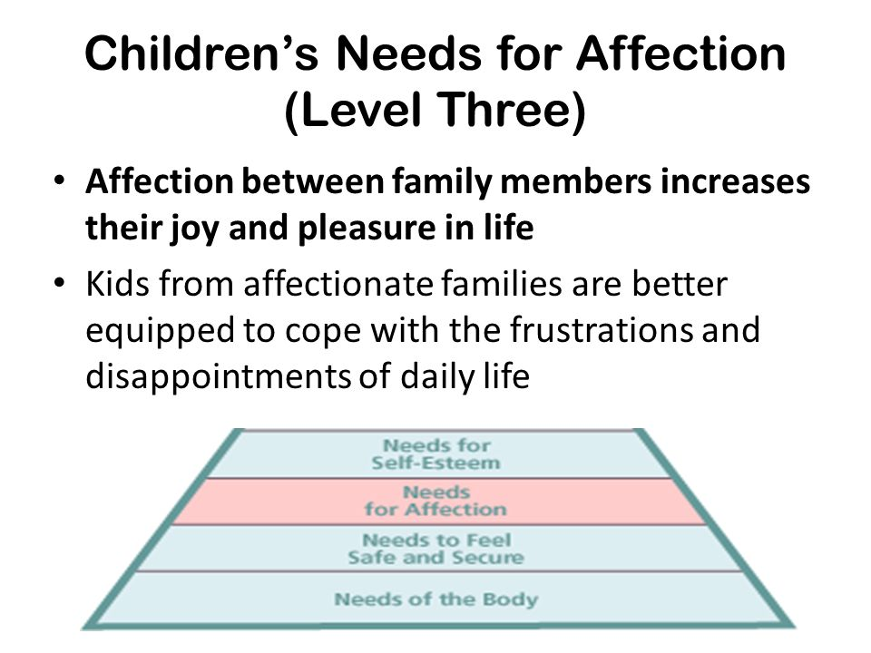 Children's Needs for Affection (Level Three) Affection between family members increases their joy and pleasure in life Kids from affectionate families