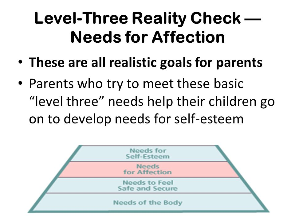 """Level-Three Reality Check — Needs for Affection These are all realistic goals for parents Parents who try to meet these basic """"level three"""" needs help"""
