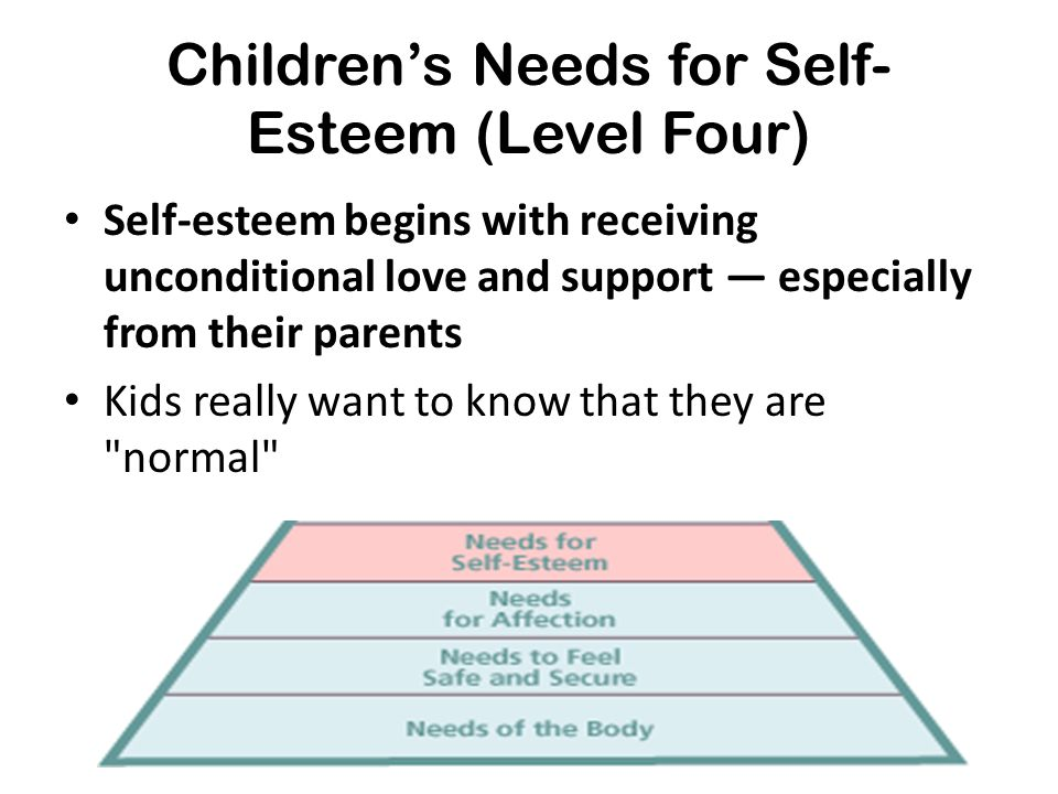Children's Needs for Self- Esteem (Level Four) Self-esteem begins with receiving unconditional love and support — especially from their parents Kids r