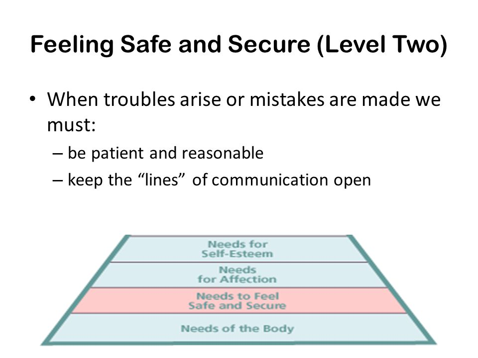 """Feeling Safe and Secure (Level Two) When troubles arise or mistakes are made we must: – be patient and reasonable – keep the """"lines"""" of communication"""