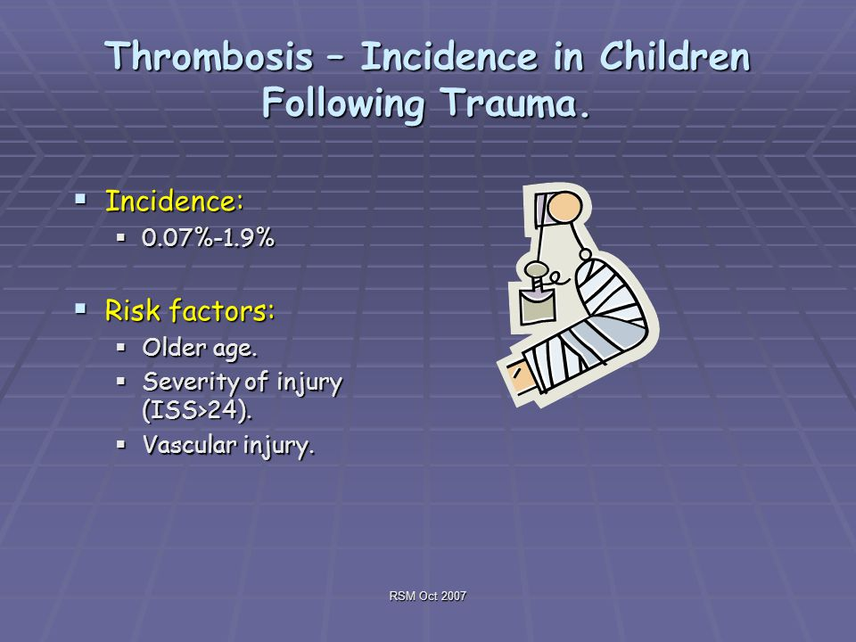 RSM Oct 2007 Thrombosis – Incidence in Children Following Trauma.