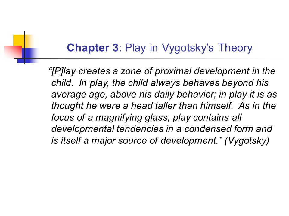 Chapter 3: Play in Vygotsky's Theory [P]lay creates a zone of proximal development in the child.