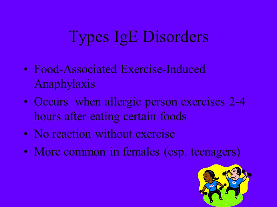 Types IgE Disorders Food-Associated Exercise-Induced Anaphylaxis Occurs when allergic person exercises 2-4 hours after eating certain foods No reactio