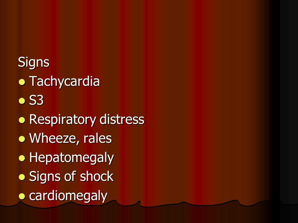 Signs Tachycardia Tachycardia S3 S3 Respiratory distress Respiratory distress Wheeze, rales Wheeze, rales Hepatomegaly Hepatomegaly Signs of shock Sig