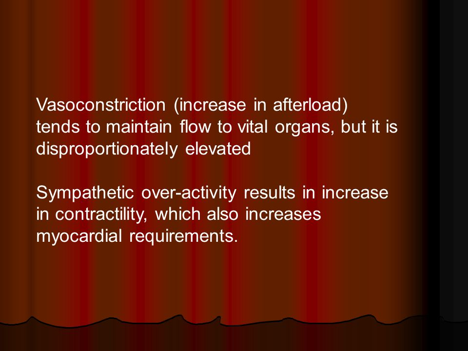 Vasoconstriction (increase in afterload) tends to maintain flow to vital organs, but it is disproportionately elevated Sympathetic over-activity resul
