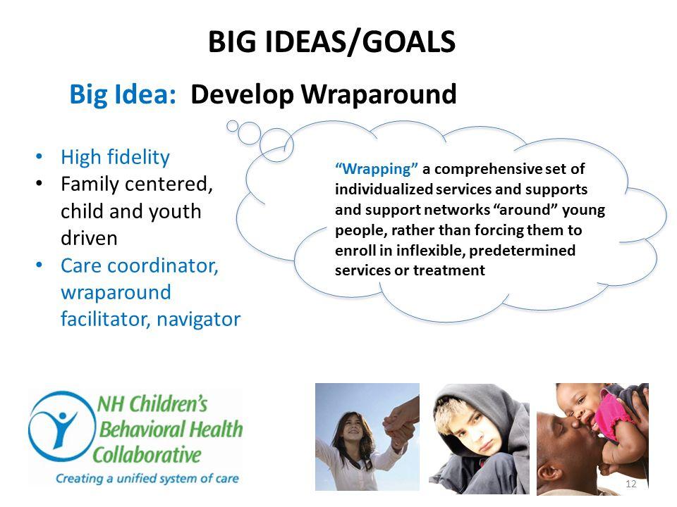 BIG IDEAS/GOALS Big Idea: Develop Wraparound High fidelity Family centered, child and youth driven Care coordinator, wraparound facilitator, navigator