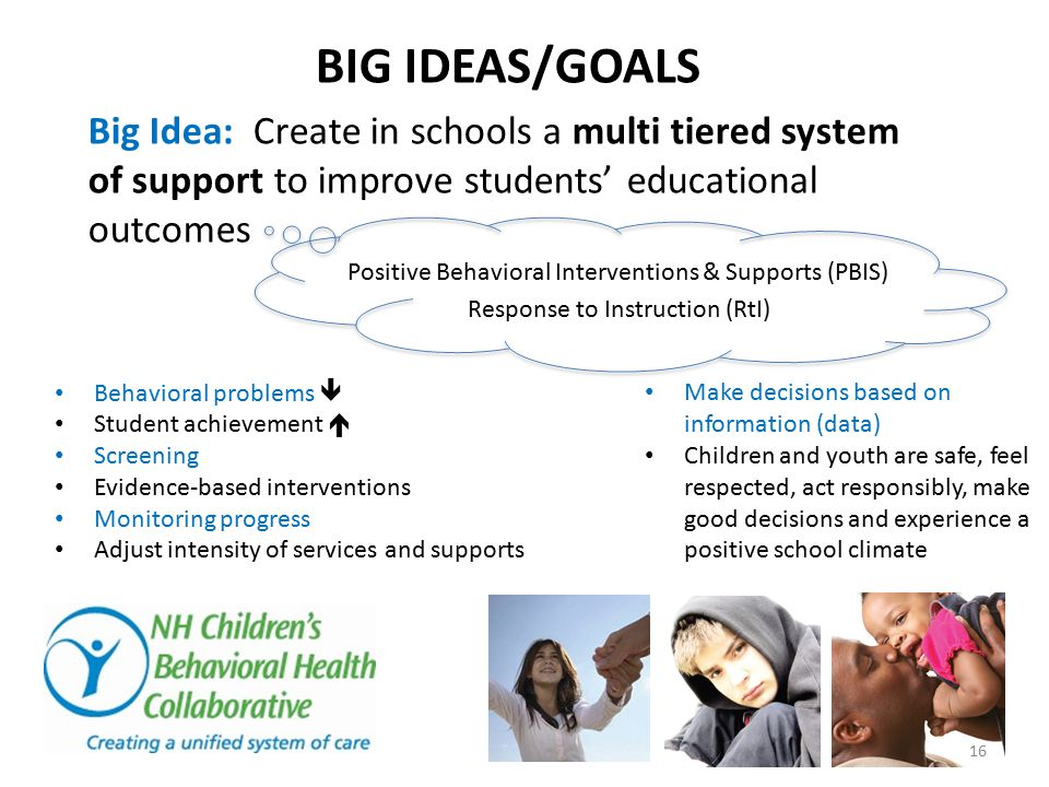 BIG IDEAS/GOALS Behavioral problems  Student achievement  Screening Evidence-based interventions Monitoring progress Adjust intensity of services and supports Make decisions based on information (data) Children and youth are safe, feel respected, act responsibly, make good decisions and experience a positive school climate Big Idea: Create in schools a multi tiered system of support to improve students' educational outcomes Positive Behavioral Interventions & Supports (PBIS) Response to Instruction (RtI) 16