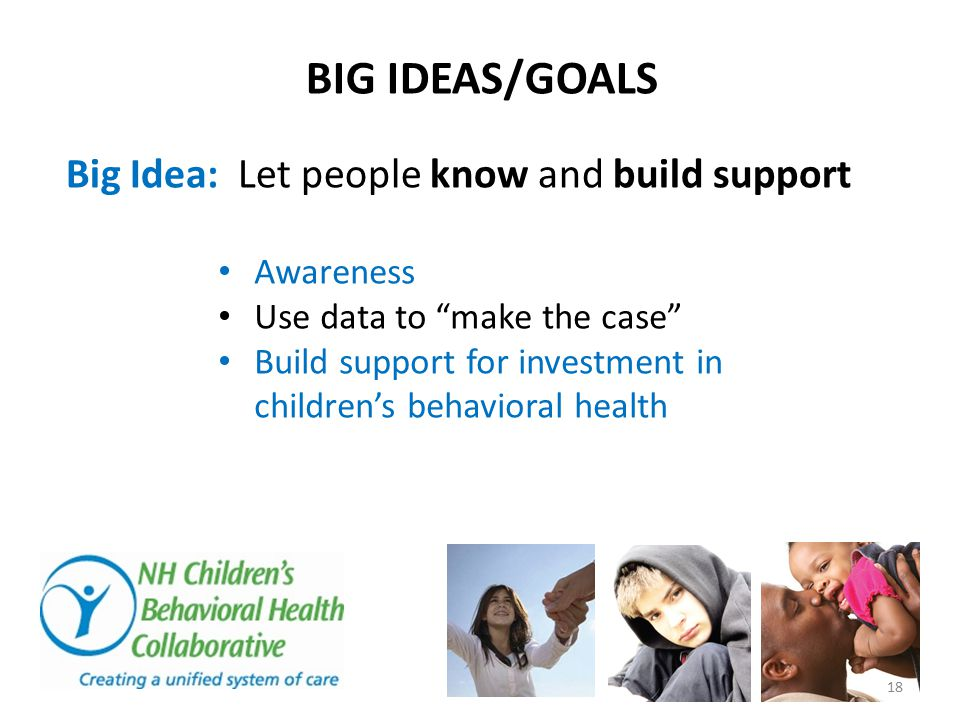 BIG IDEAS/GOALS Big Idea: Let people know and build support Awareness Use data to make the case Build support for investment in children's behavioral health 18
