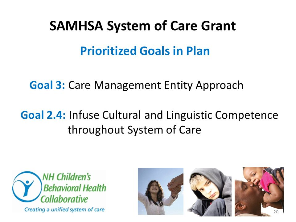 SAMHSA System of Care Grant Prioritized Goals in Plan Goal 3: Care Management Entity Approach Goal 2.4: Infuse Cultural and Linguistic Competence thro