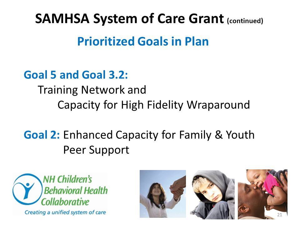 SAMHSA System of Care Grant (continued) Prioritized Goals in Plan Goal 5 and Goal 3.2: Training Network and Capacity for High Fidelity Wraparound Goal 2: Enhanced Capacity for Family & Youth Peer Support 21