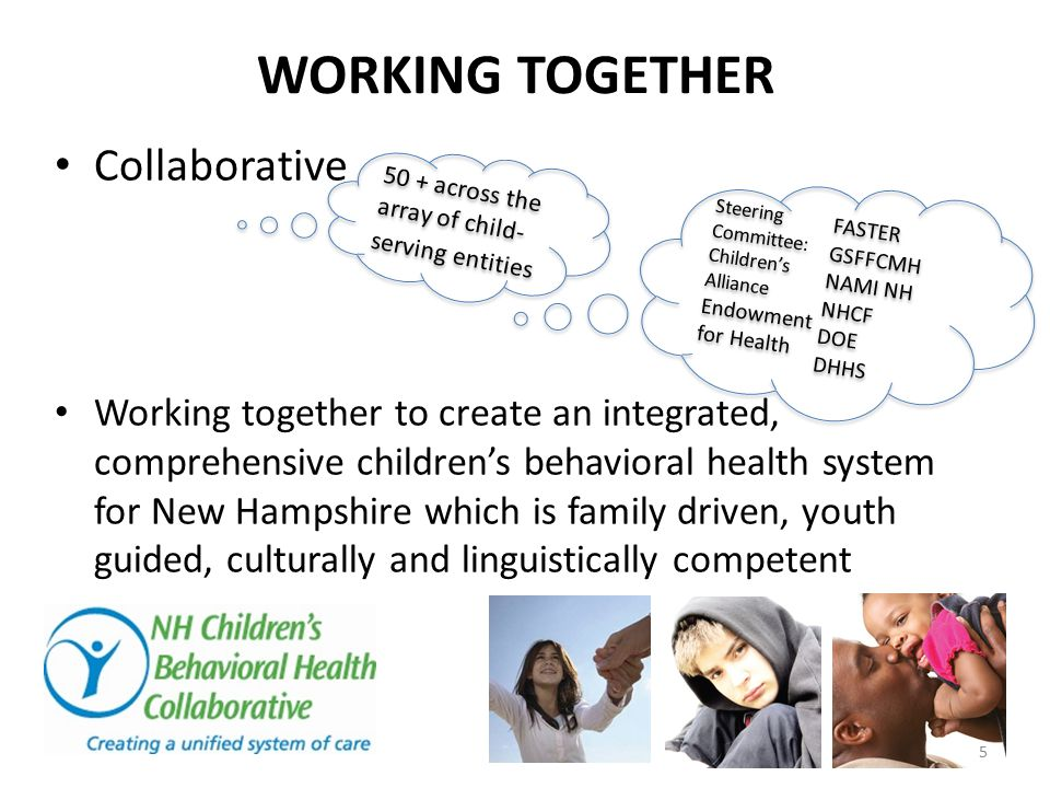 WORKING TOGETHER Collaborative Working together to create an integrated, comprehensive children's behavioral health system for New Hampshire which is
