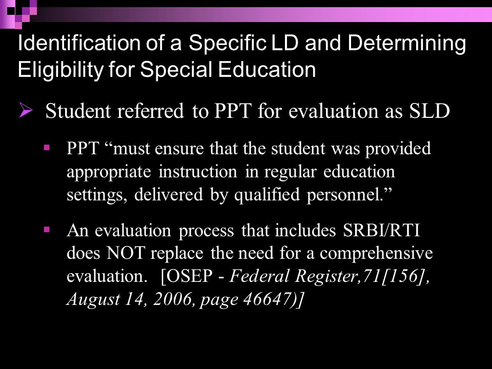 Definition of a Specific Learning Disability Specific learning disability means a disorder in one or more of the basic psychological processes involved in understanding or in using language, spoken or written, which may manifest itself in an imperfect ability to listen, think, speak, read, write, spell or to do mathematical calculations....