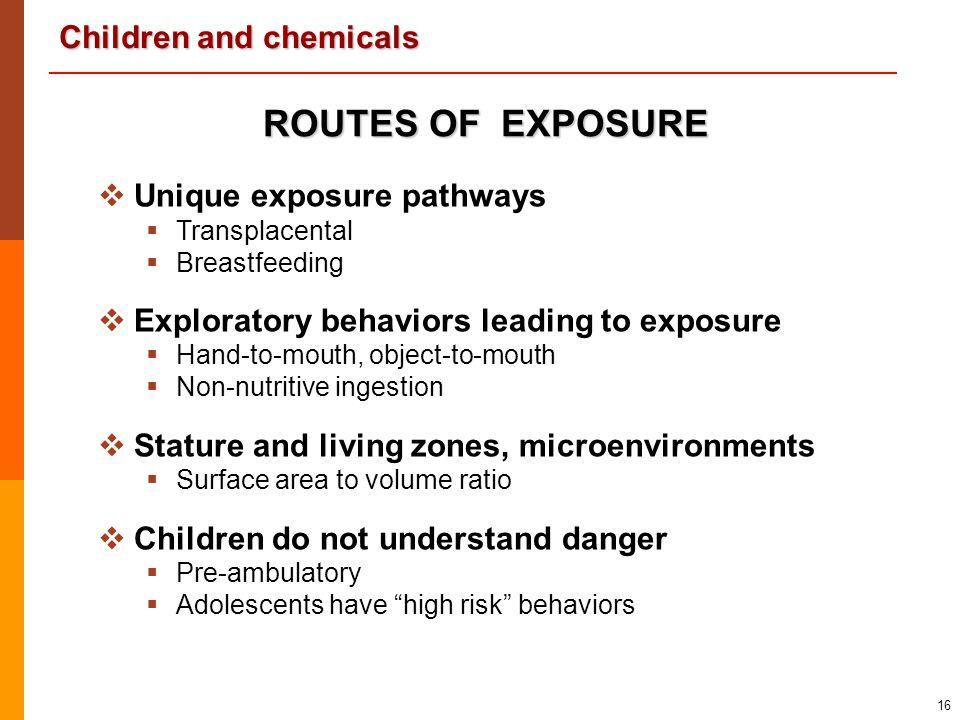 Children and chemicals 16 ROUTES OF EXPOSURE   Unique exposure pathways   Transplacental   Breastfeeding   Exploratory behaviors leading to ex