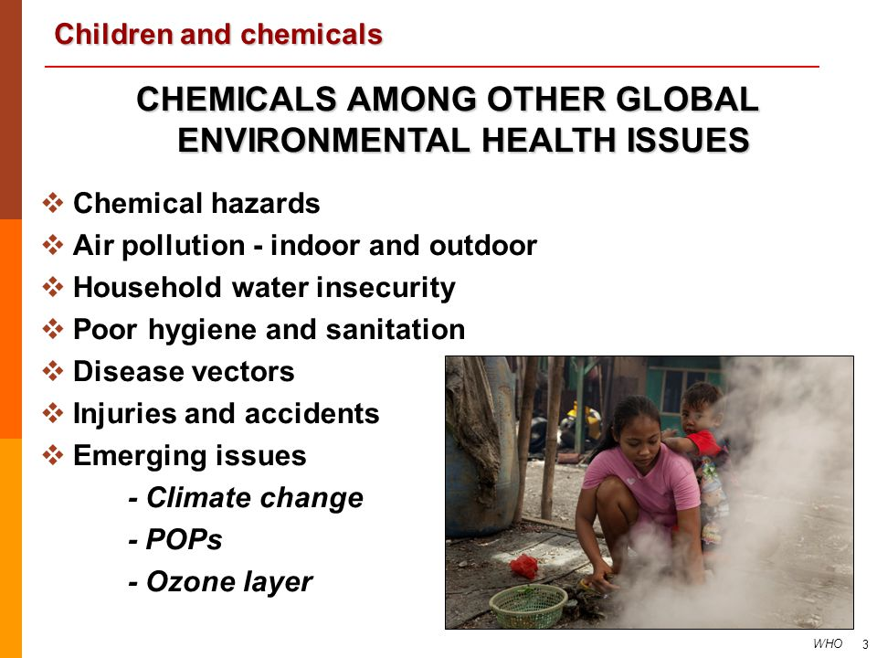 Children and chemicals 3 CHEMICALS AMONG OTHER GLOBAL ENVIRONMENTAL HEALTH ISSUES   Chemical hazards   Air pollution - indoor and outdoor   Hous