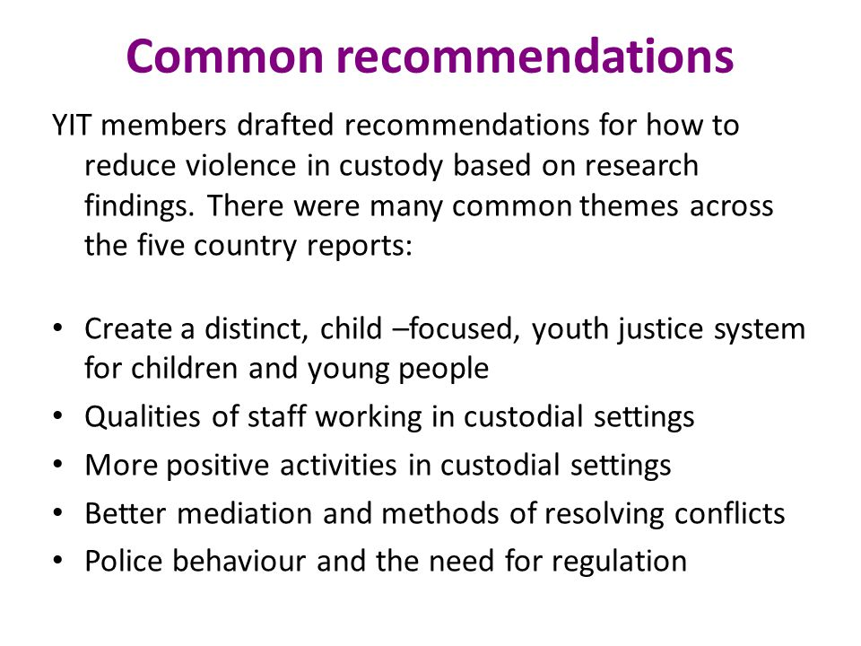 Common recommendations YIT members drafted recommendations for how to reduce violence in custody based on research findings.