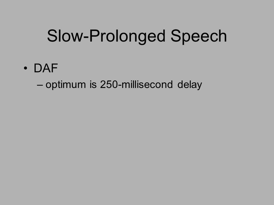 Slow-Prolonged Speech DAF –optimum is 250-millisecond delay