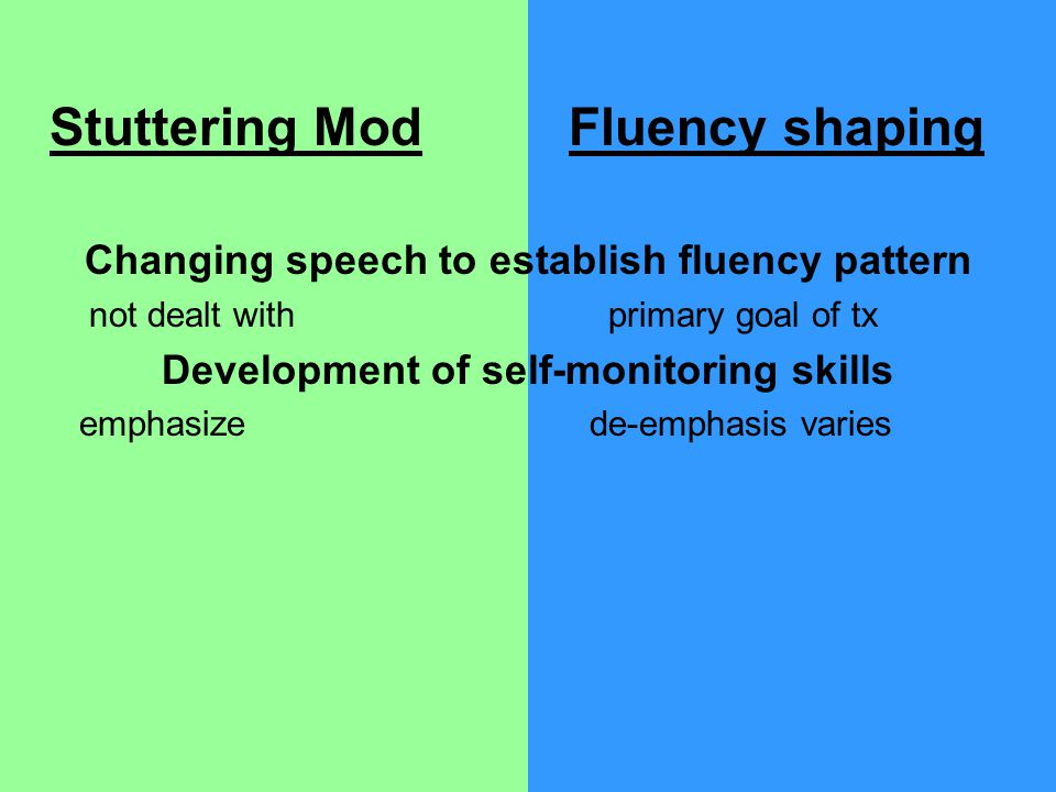 Stuttering Mod Fluency shaping Changing speech to establish fluency pattern not dealt with primary goal of tx Development of self-monitoring skills emphasize de-emphasis varies