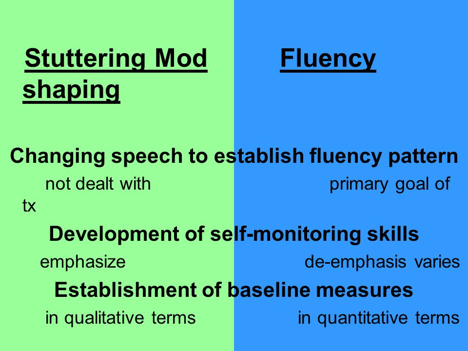 Stuttering Mod Fluency shaping Changing speech to establish fluency pattern not dealt with primary goal of tx Development of self-monitoring skills emphasize de-emphasis varies Establishment of baseline measures in qualitative terms in quantitative terms