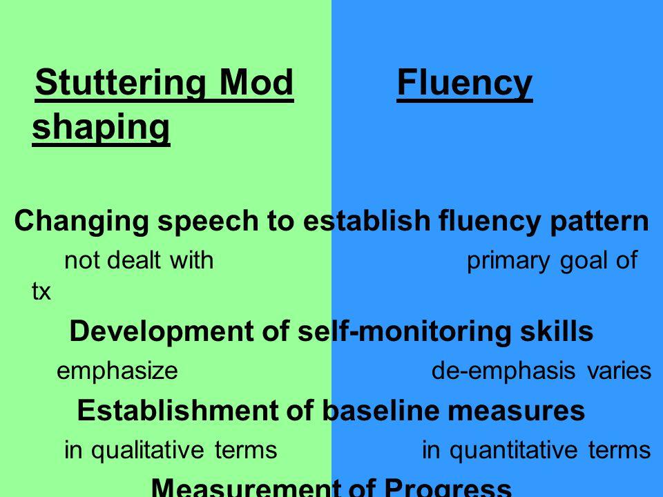Stuttering Mod Fluency shaping Changing speech to establish fluency pattern not dealt with primary goal of tx Development of self-monitoring skills em