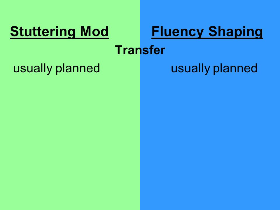 Stuttering Mod Fluency Shaping Transfer usually plannedusually planned
