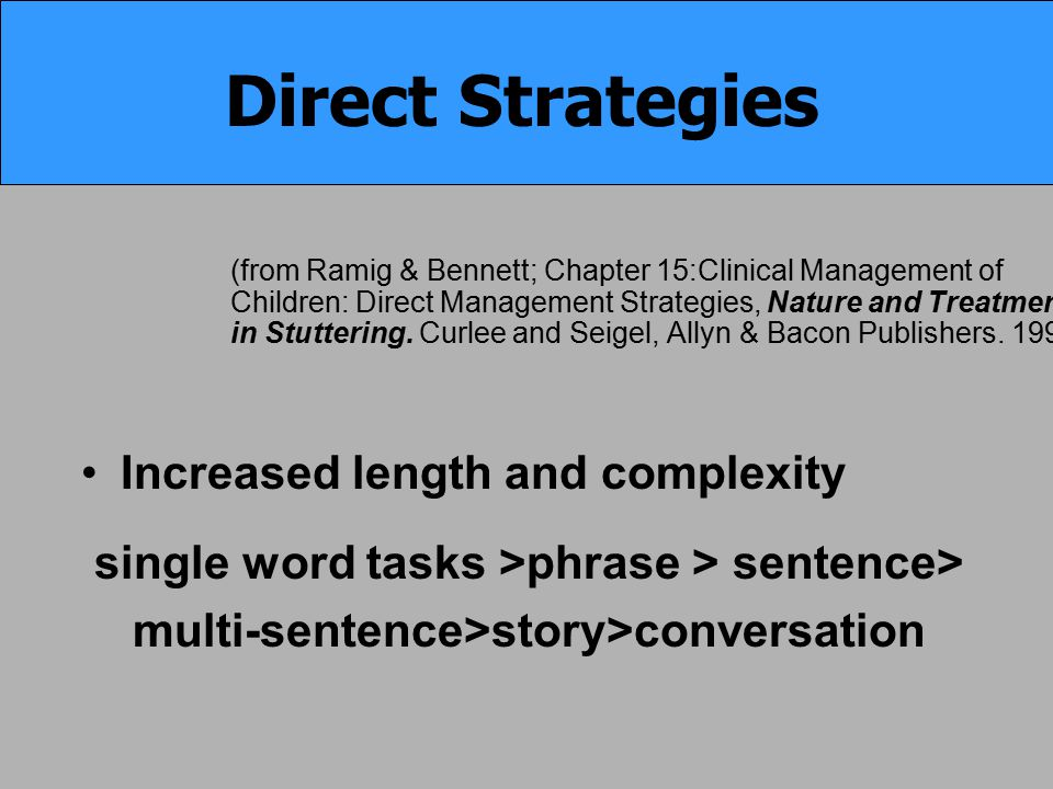 (from Ramig & Bennett; Chapter 15:Clinical Management of Children: Direct Management Strategies, Nature and Treatment in Stuttering. Curlee and Seigel