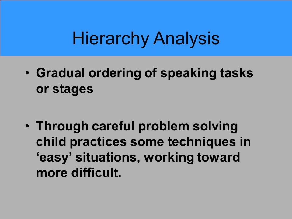 Hierarchy Analysis Gradual ordering of speaking tasks or stages Through careful problem solving child practices some techniques in 'easy' situations,