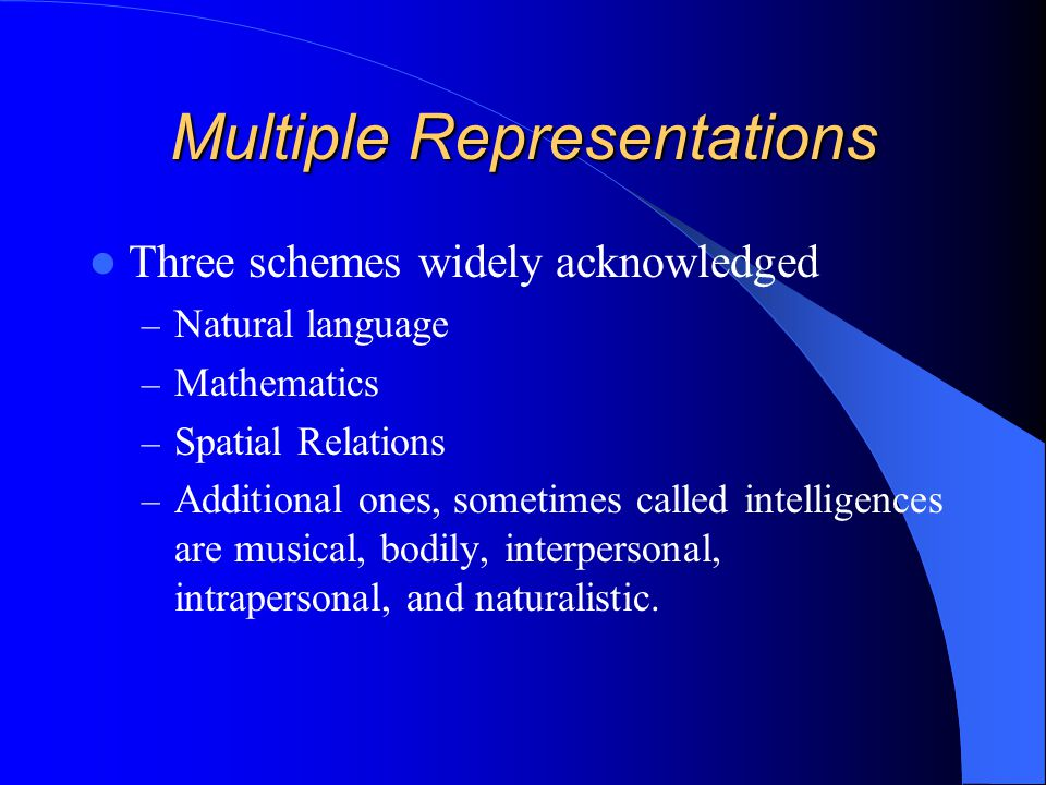 Multiple Representations Three schemes widely acknowledged – Natural language – Mathematics – Spatial Relations – Additional ones, sometimes called intelligences are musical, bodily, interpersonal, intrapersonal, and naturalistic.