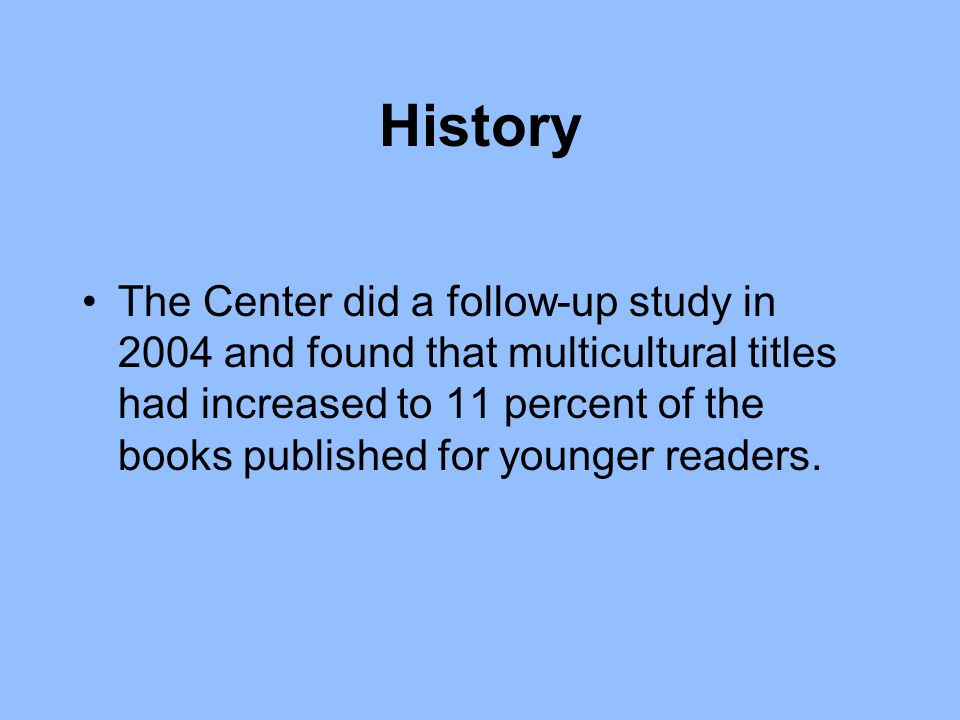 History The Center did a follow-up study in 2004 and found that multicultural titles had increased to 11 percent of the books published for younger readers.