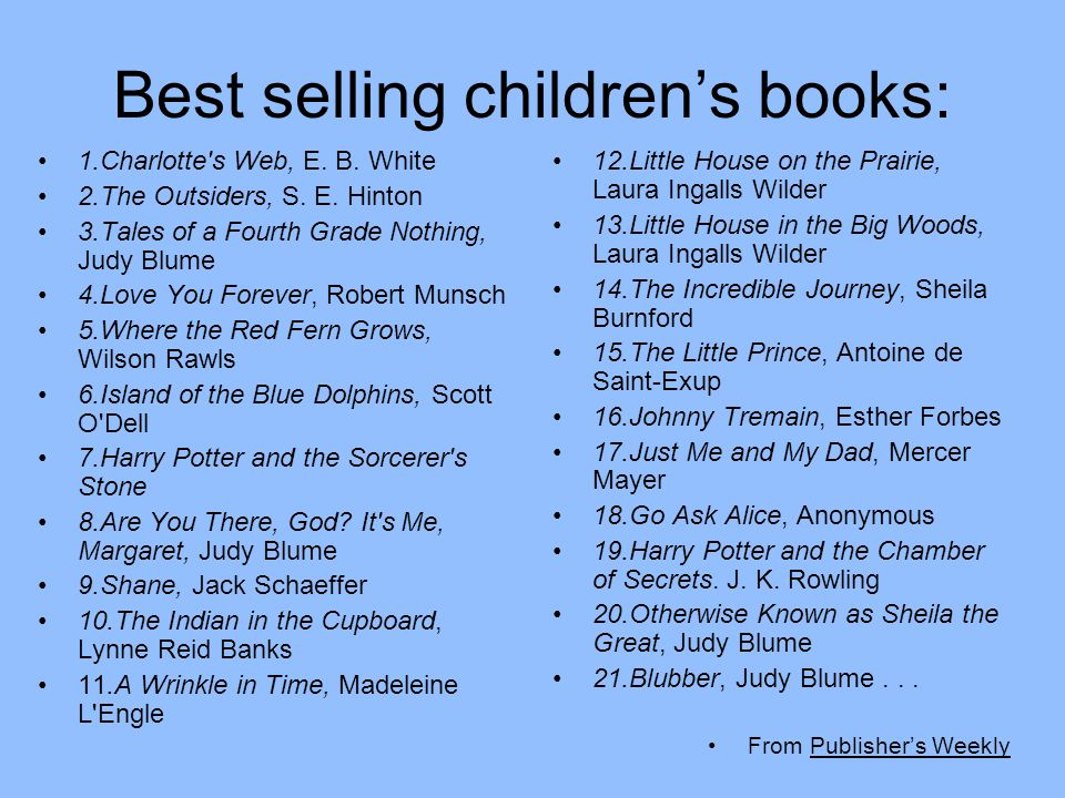 Best selling children's books: 1.Charlotte's Web, E. B. White 2.The Outsiders, S. E. Hinton 3.Tales of a Fourth Grade Nothing, Judy Blume 4.Love You F