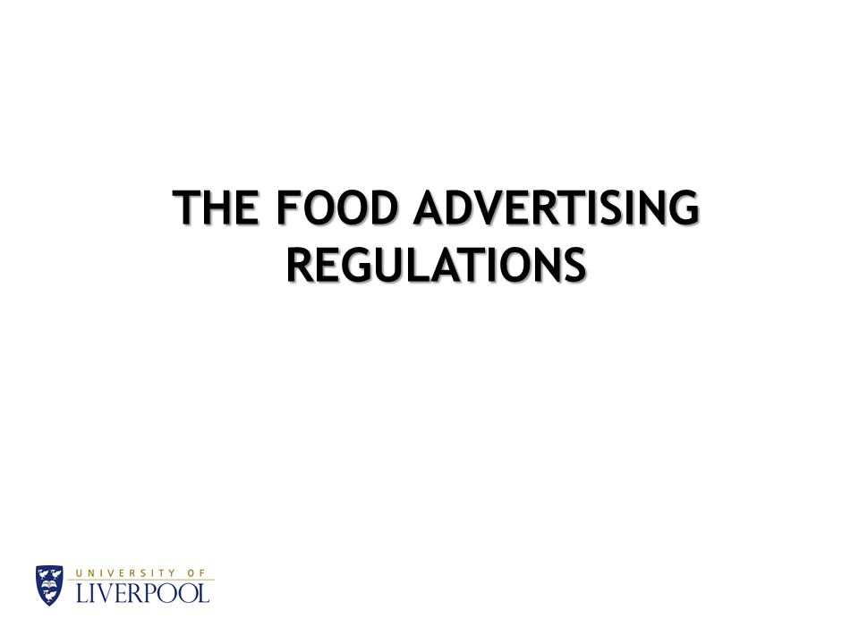 THE FOOD ADVERTISING REGULATIONS