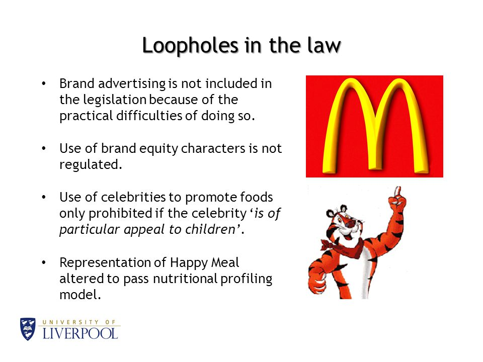 Loopholes in the law Brand advertising is not included in the legislation because of the practical difficulties of doing so.