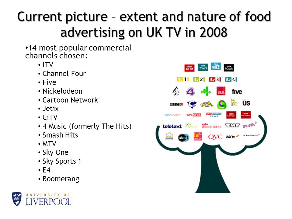 Current picture – extent and nature of food advertising on UK TV in 2008 14 most popular commercial channels chosen: ITV Channel Four Five Nickelodeon Cartoon Network Jetix CiTV 4 Music (formerly The Hits) Smash Hits MTV Sky One Sky Sports 1 E4 Boomerang