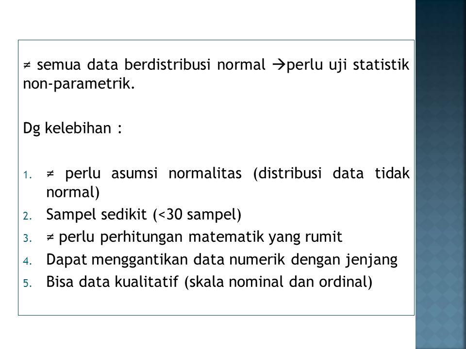 Kekurangan : 1.Uji hipotesis tidak setajam statistik parametrik 2.