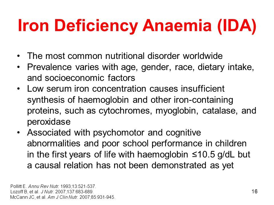 16 Iron Deficiency Anaemia (IDA) The most common nutritional disorder worldwide Prevalence varies with age, gender, race, dietary intake, and socioeconomic factors Low serum iron concentration causes insufficient synthesis of haemoglobin and other iron-containing proteins, such as cytochromes, myoglobin, catalase, and peroxidase Associated with psychomotor and cognitive abnormalities and poor school performance in children in the first years of life with haemoglobin ≤10.5 g/dL but a causal relation has not been demonstrated as yet Pollitt E.