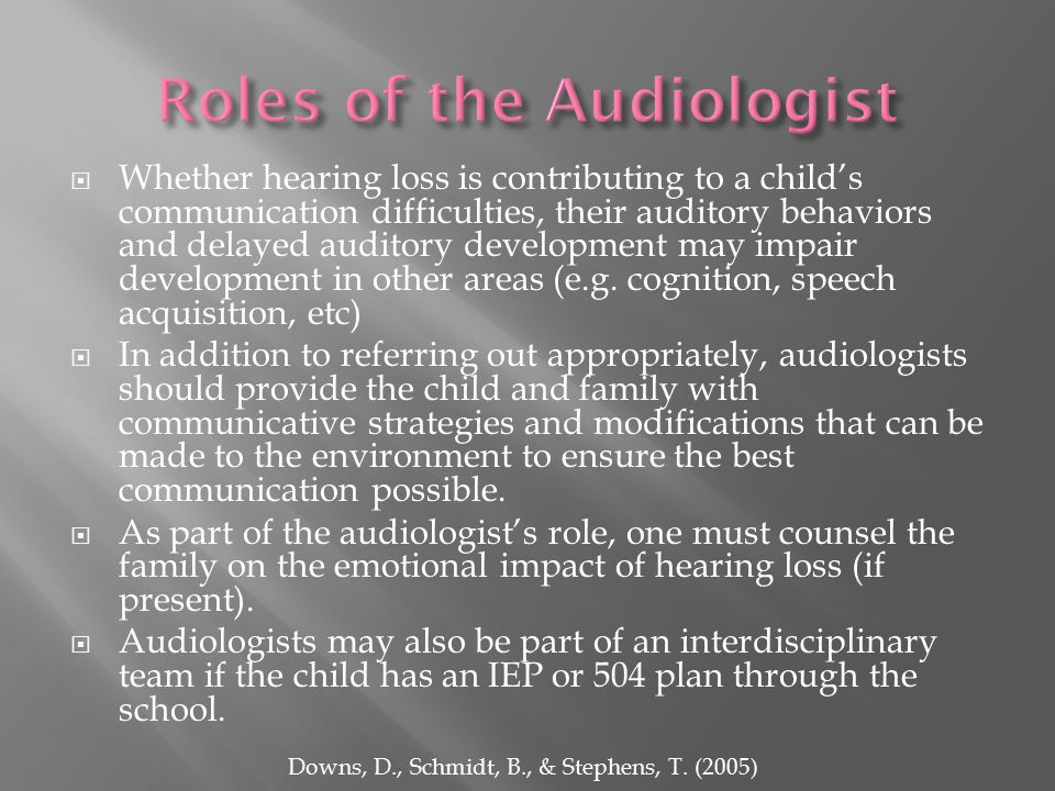  Whether hearing loss is contributing to a child's communication difficulties, their auditory behaviors and delayed auditory development may impair development in other areas (e.g.