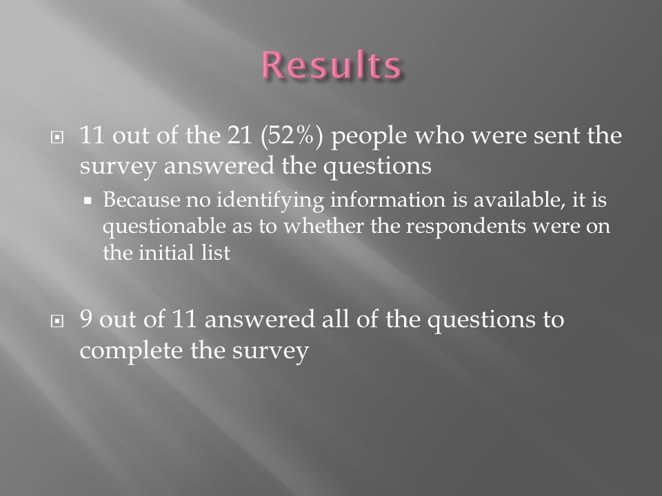  11 out of the 21 (52%) people who were sent the survey answered the questions  Because no identifying information is available, it is questionable as to whether the respondents were on the initial list  9 out of 11 answered all of the questions to complete the survey