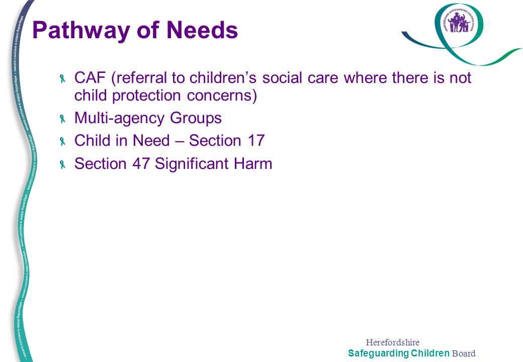 Herefordshire Safeguarding Children Board Pathway of Needs CAF (referral to children's social care where there is not child protection concerns) Multi